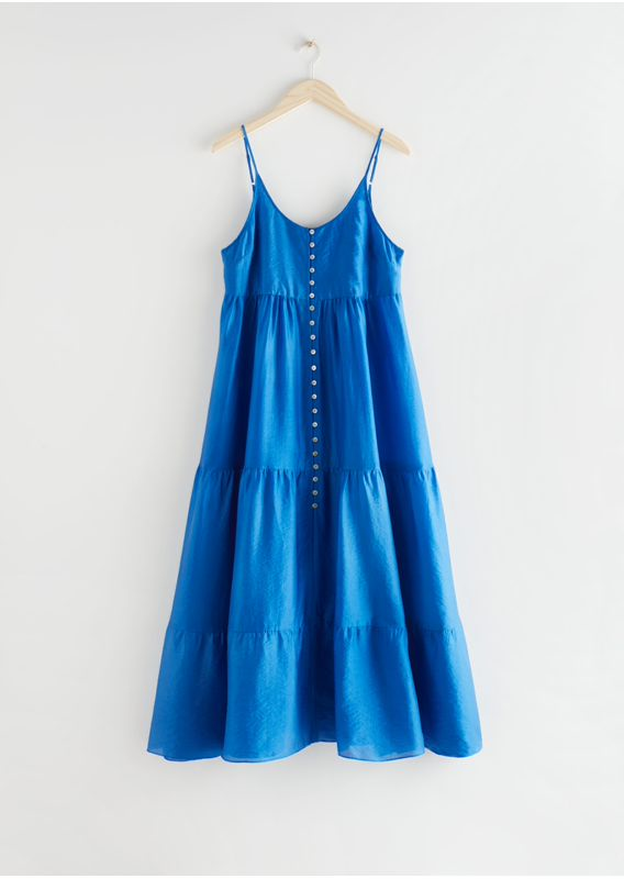 &OS image 1 of 블루 in 버튼 맥시 스트랩 드레스