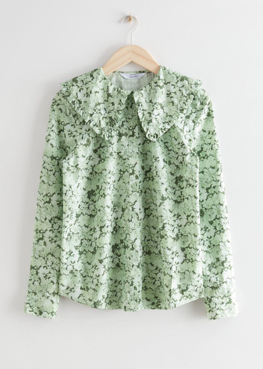 앤아더스토리즈 러플 카라 코튼 셔츠의 그린 프린트컬러 Product입니다.
