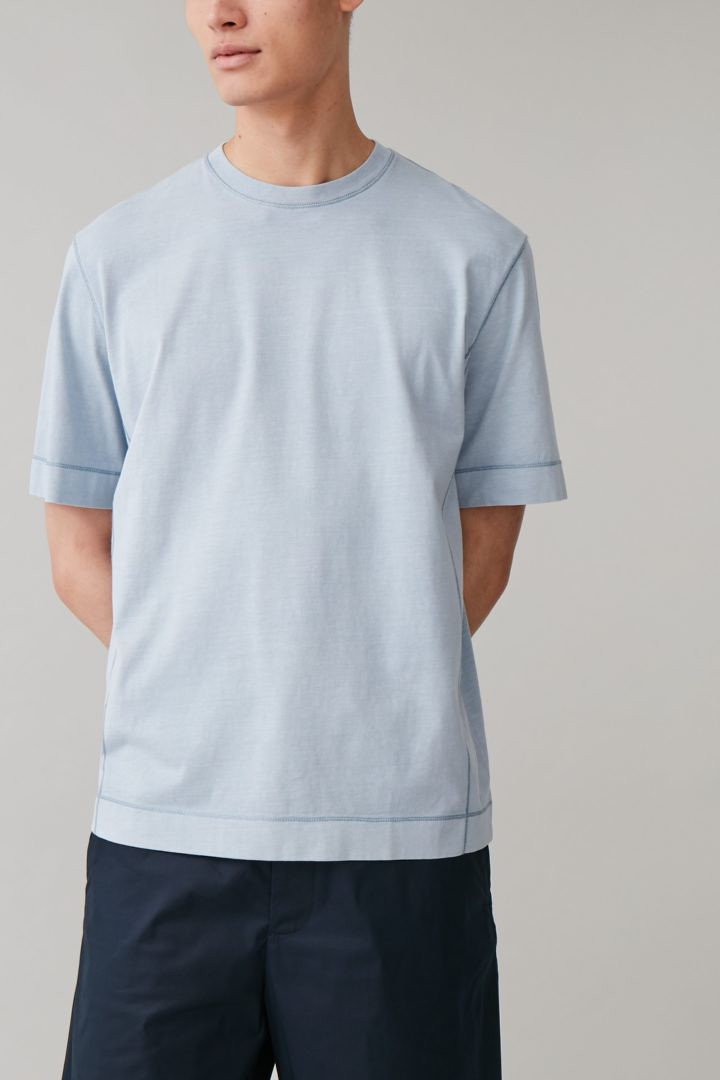 COS default image 5 of 블루 in 드롭 슬리브 코튼 티셔츠