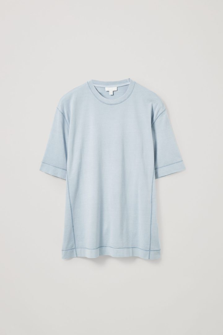 COS hover image 5 of 블루 in 드롭 슬리브 코튼 티셔츠