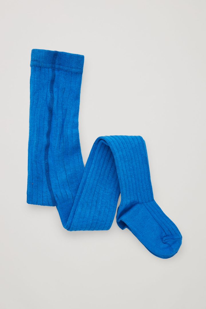 COS 오가닉 코튼 리브 타이츠의 브라이트 블루컬러 Product입니다.