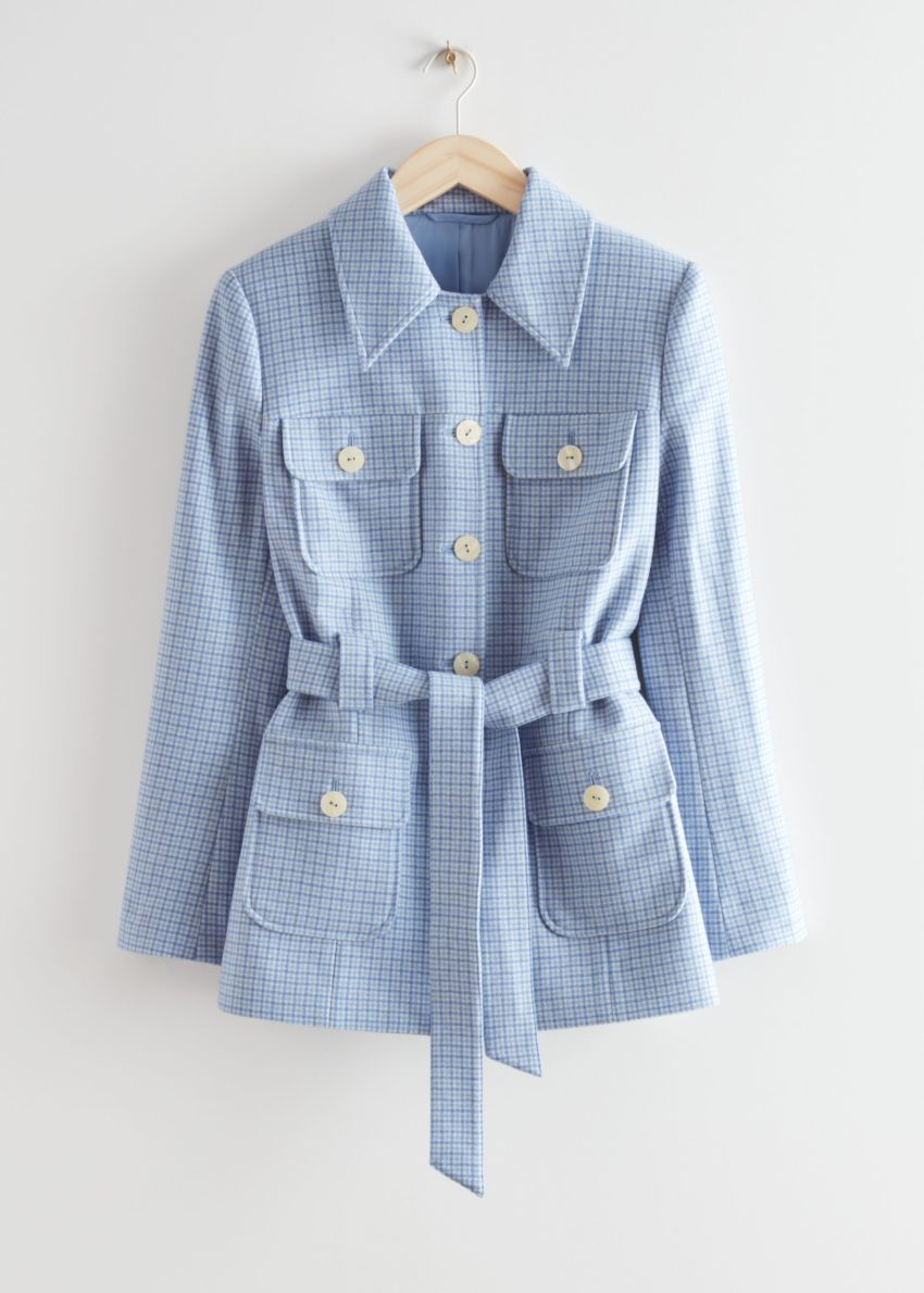 앤아더스토리즈 벨티드 버튼 업 울 재킷의 라일락 체크컬러 Product입니다.