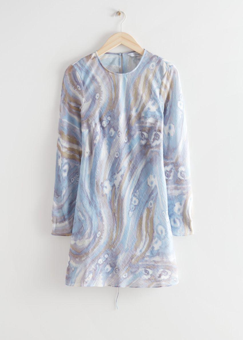 앤아더스토리즈 프린트 플로티 A 라인 미니 드레스의 블루 프린트컬러 Product입니다.