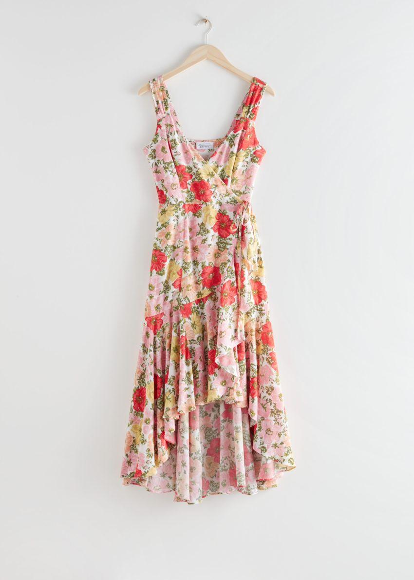 앤아더스토리즈 슬리브리스 미디 랩 드레스의 플로럴 프린트컬러 Product입니다.