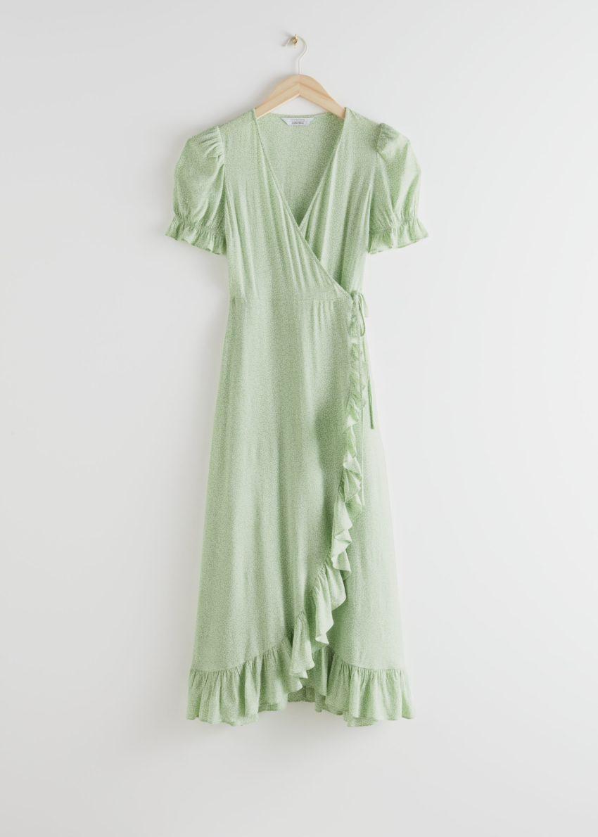 앤아더스토리즈 러플 맥시 드레스의 그린 프린트컬러 Product입니다.
