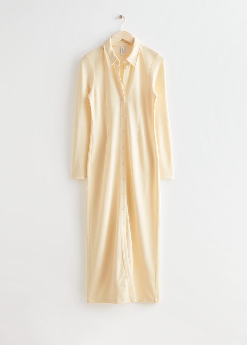앤아더스토리즈 카라 맥시 셔츠 드레스의 라이트 옐로우컬러 Product입니다.