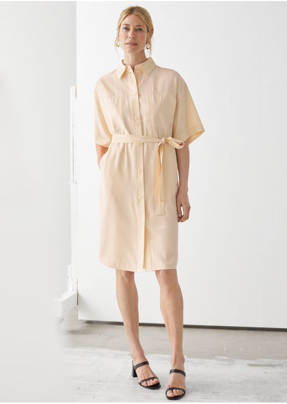 &OS image 3 of 베이지 in 오버사이즈 미디 셔츠 드레스