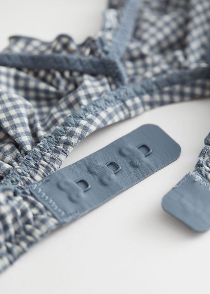 앤아더스토리즈 프릴 소프트 브라의 블루 체크컬러 Detail입니다.