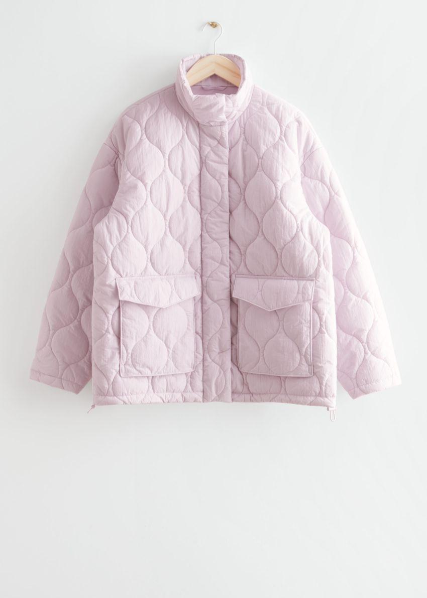 앤아더스토리즈 퀼트 집 재킷의 라이트 핑크컬러 Product입니다.