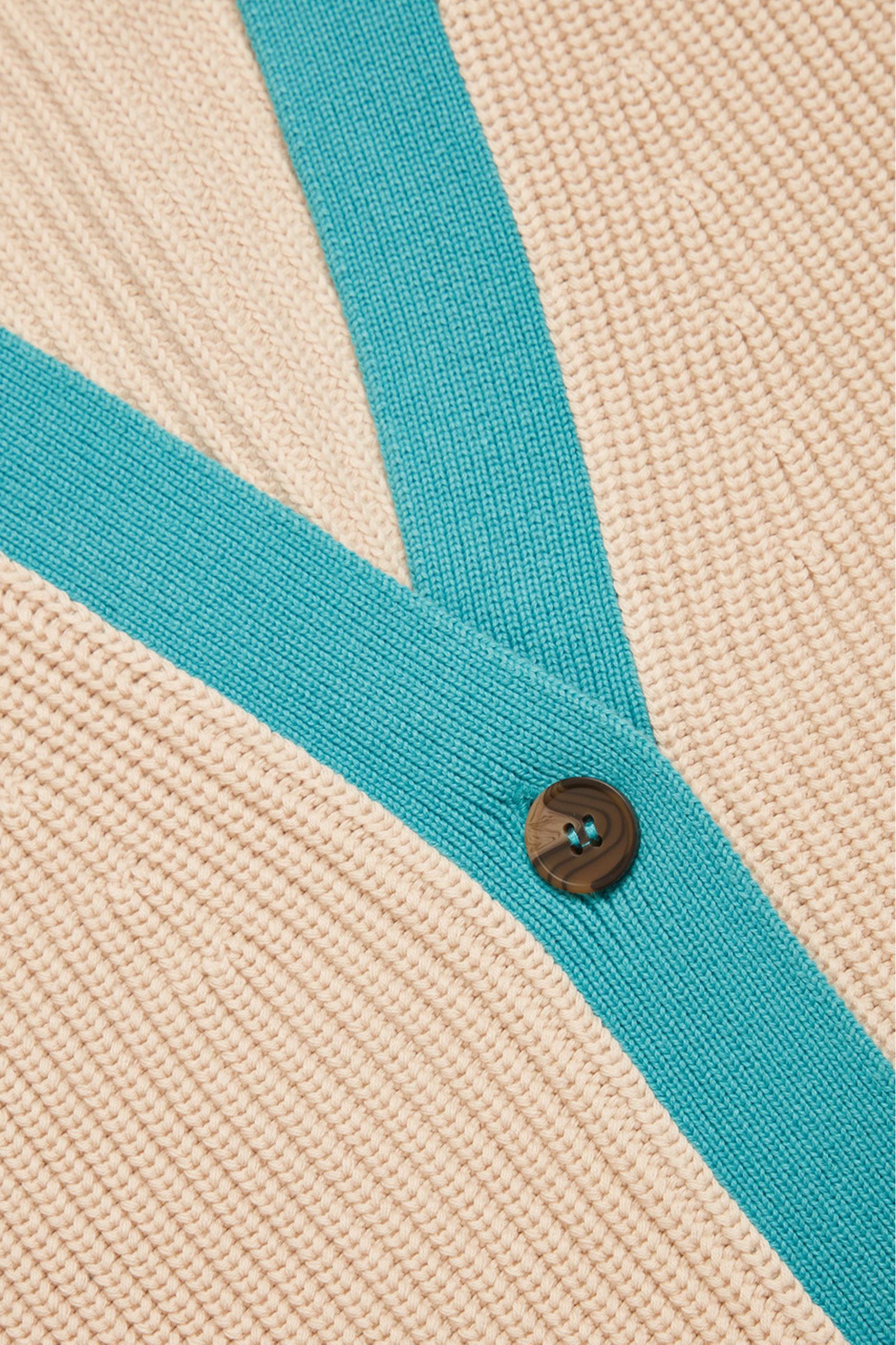 COS 자카드 니트 가디건의 터쿼이즈컬러 Detail입니다.