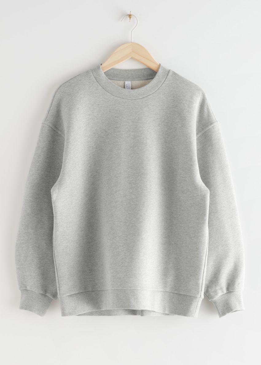 앤아더스토리즈 롱 릴렉스드 코튼 스웨터의 그레이 멜란지컬러 Product입니다.