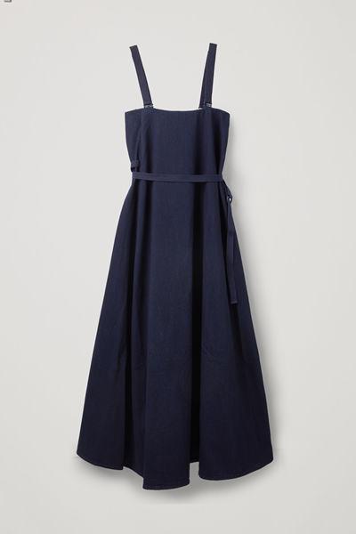 COS default image 4 of 블루 in 디태처블 스트랩스 데님 드레스