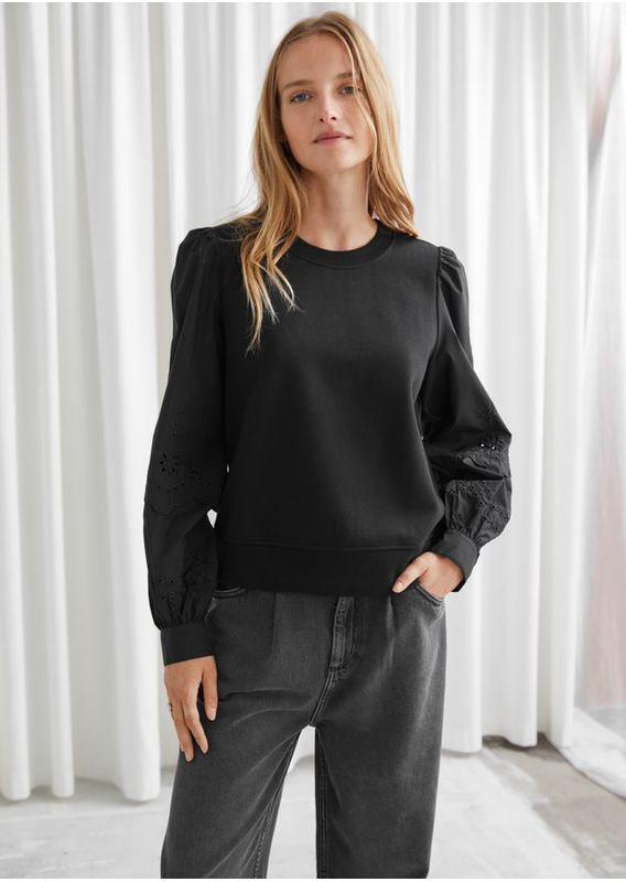 &OS image 8 of  in 엠브로이더리 슬리브 스웨터