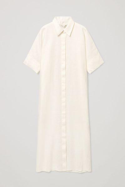 COS default image 10 of 화이트 in 리넨 셔츠 드레스