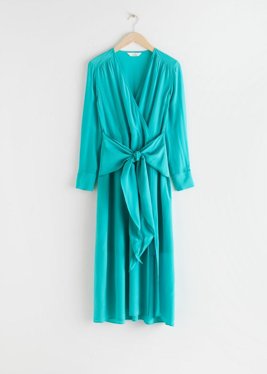 앤아더스토리즈 스카프 타이 플로위 미디 드레스의 터쿼이즈컬러 Product입니다.