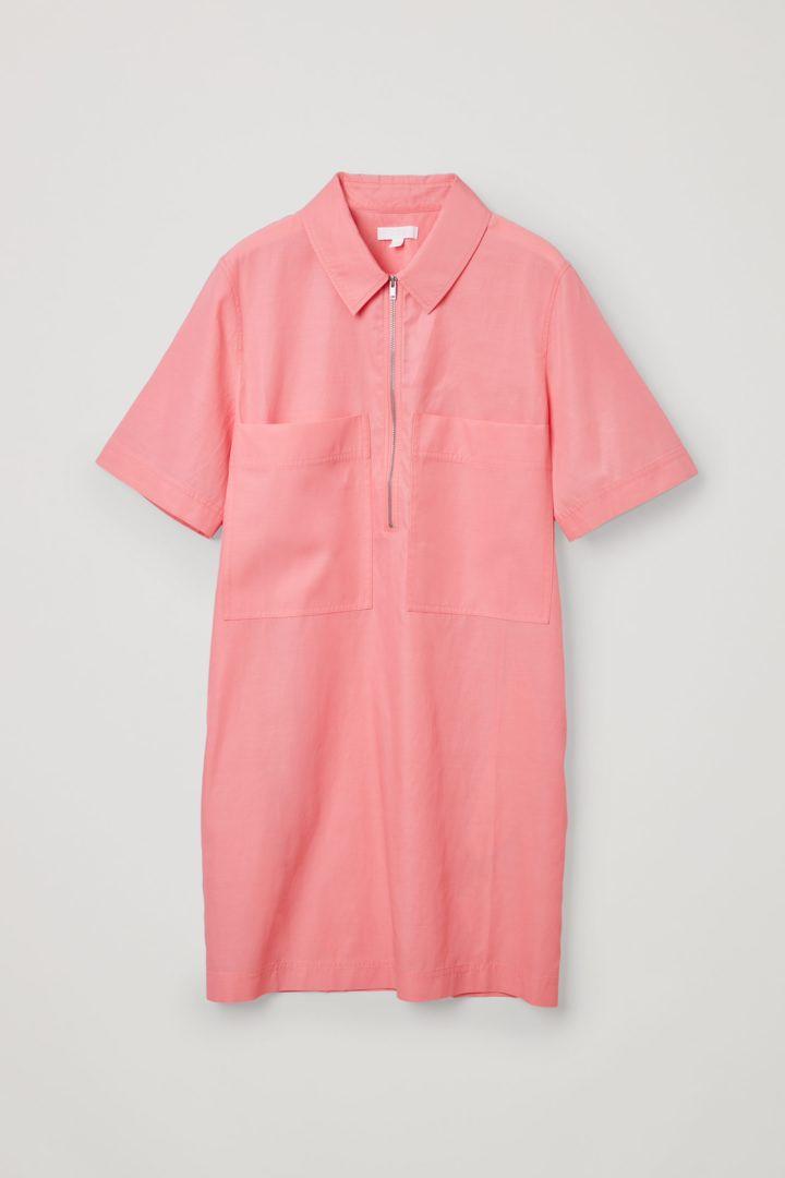 COS 집업 코튼 쿠프로 셔츠 드레스의 핑크컬러 Product입니다.