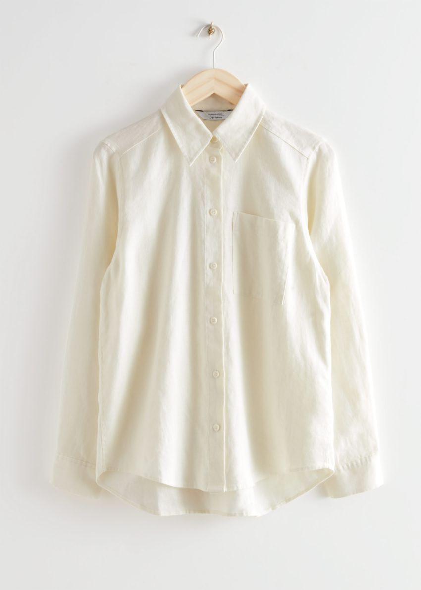 앤아더스토리즈 패치 포켓 리넨 셔츠의 크림컬러 Product입니다.