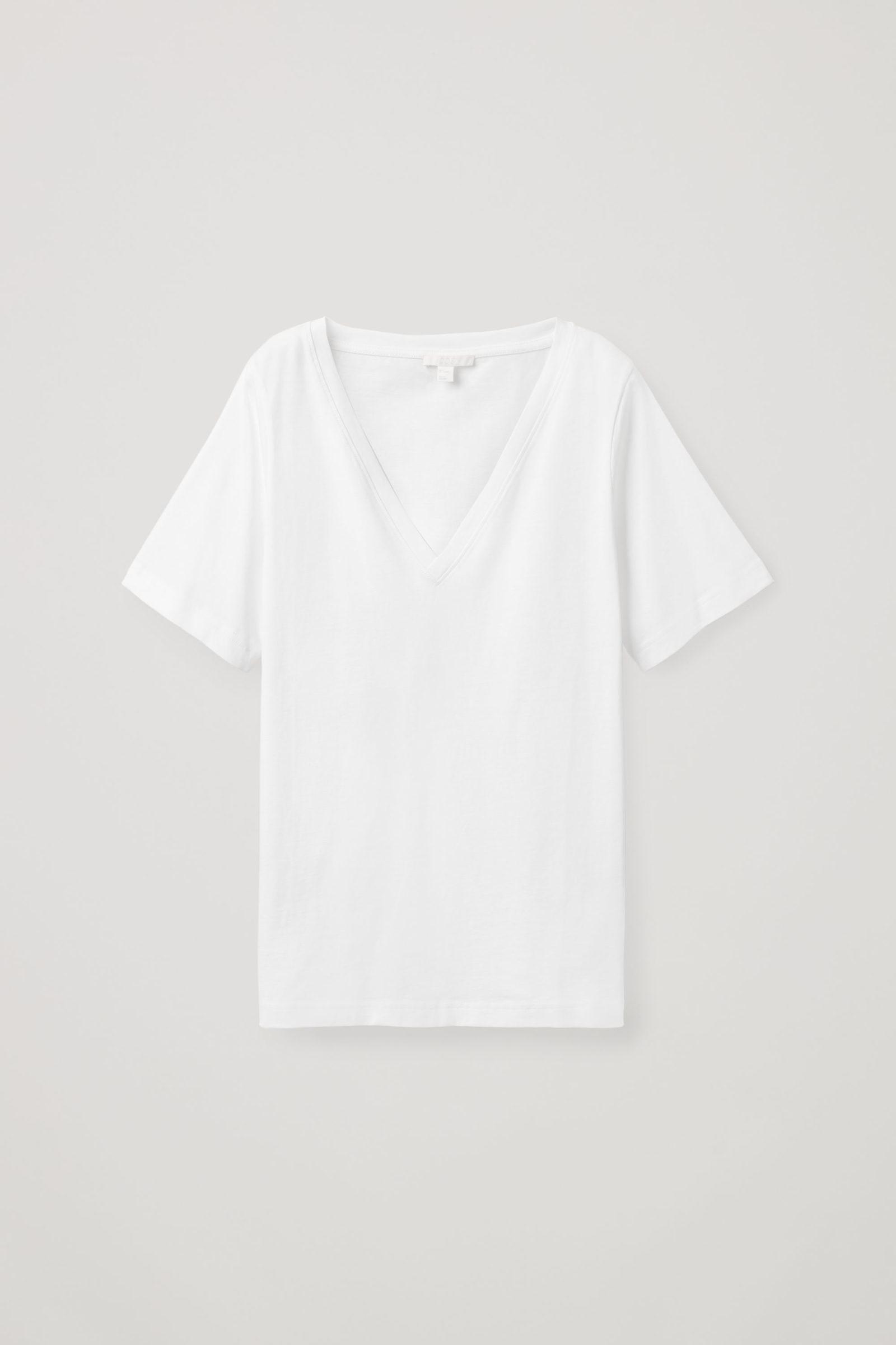 COS 브이넥 티셔츠의 화이트컬러 Product입니다.