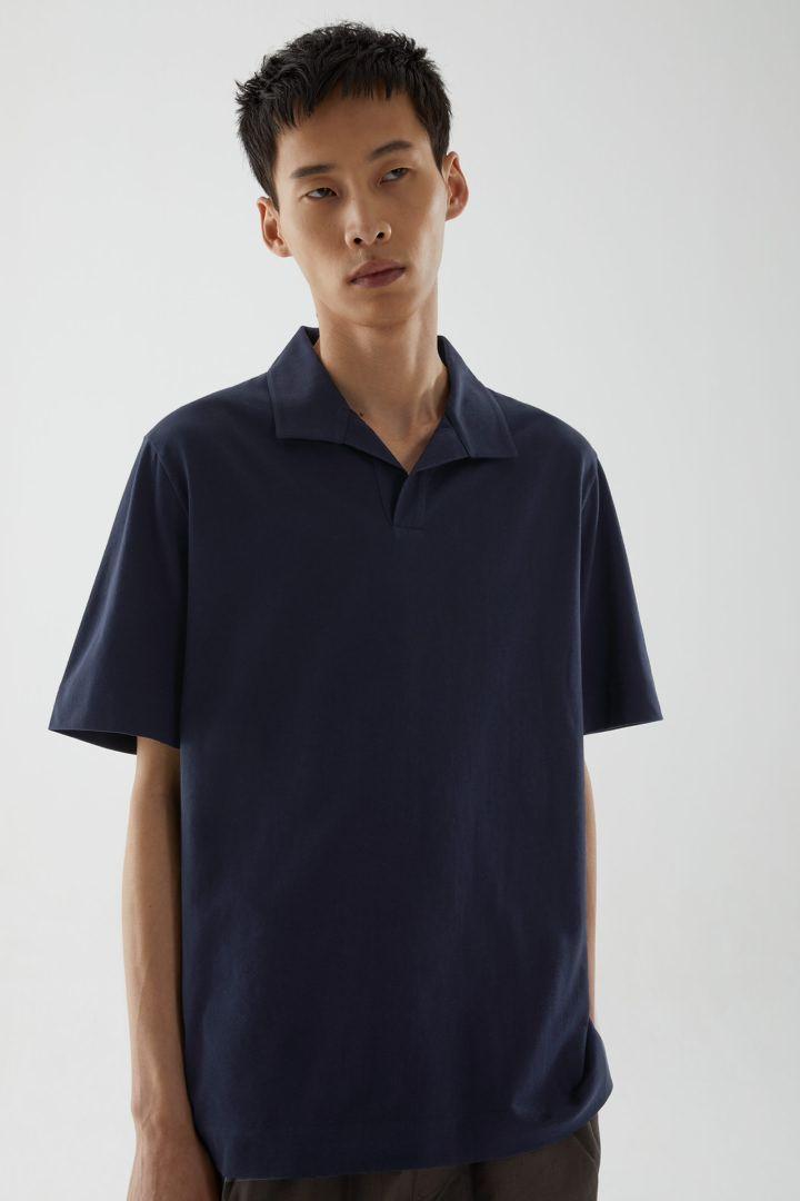 COS default image 1 of 블루 in 오픈 칼라 코튼 폴로 셔츠