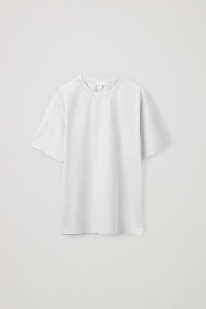 COS 롱 코튼 티셔츠의 그레이컬러 Product입니다.