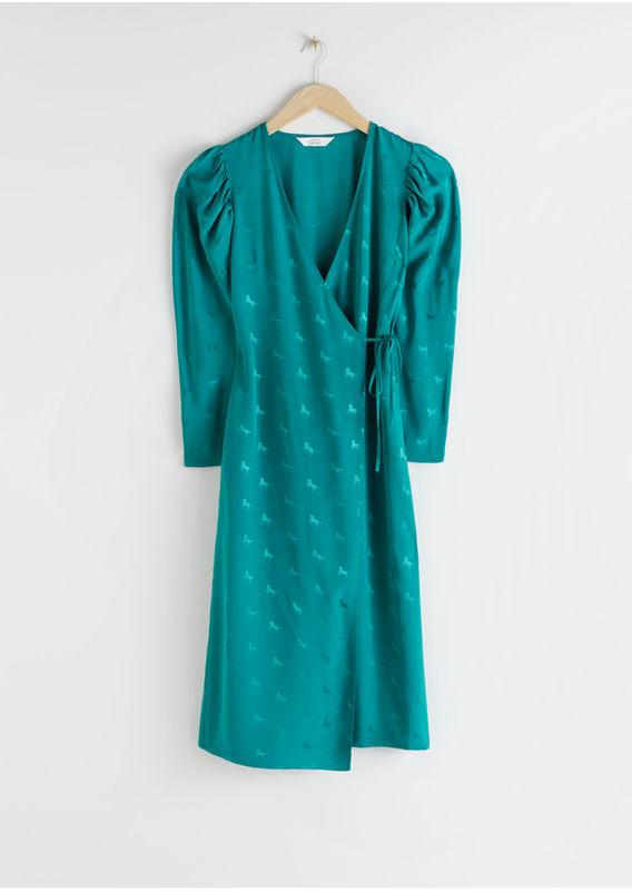 &OS image 13 of  in 호스 프린트 웨이스트 타이 미디 드레스