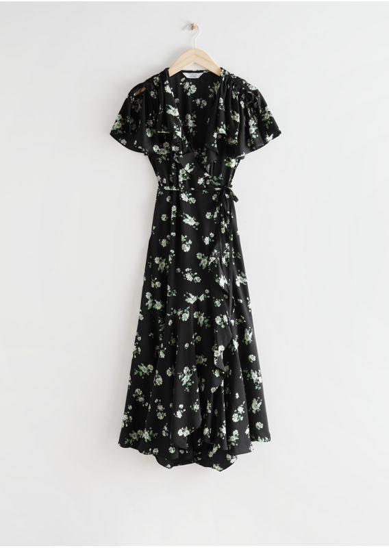 &OS image 15 of 블랙 in 에이시메트릭 랩 미디 드레스