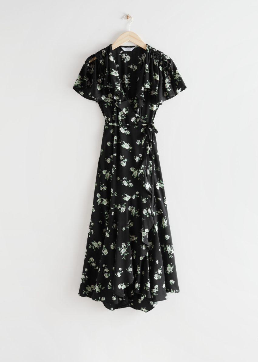 앤아더스토리즈 에이시메트릭 랩 미디 드레스의 블랙 플로럴컬러 Product입니다.