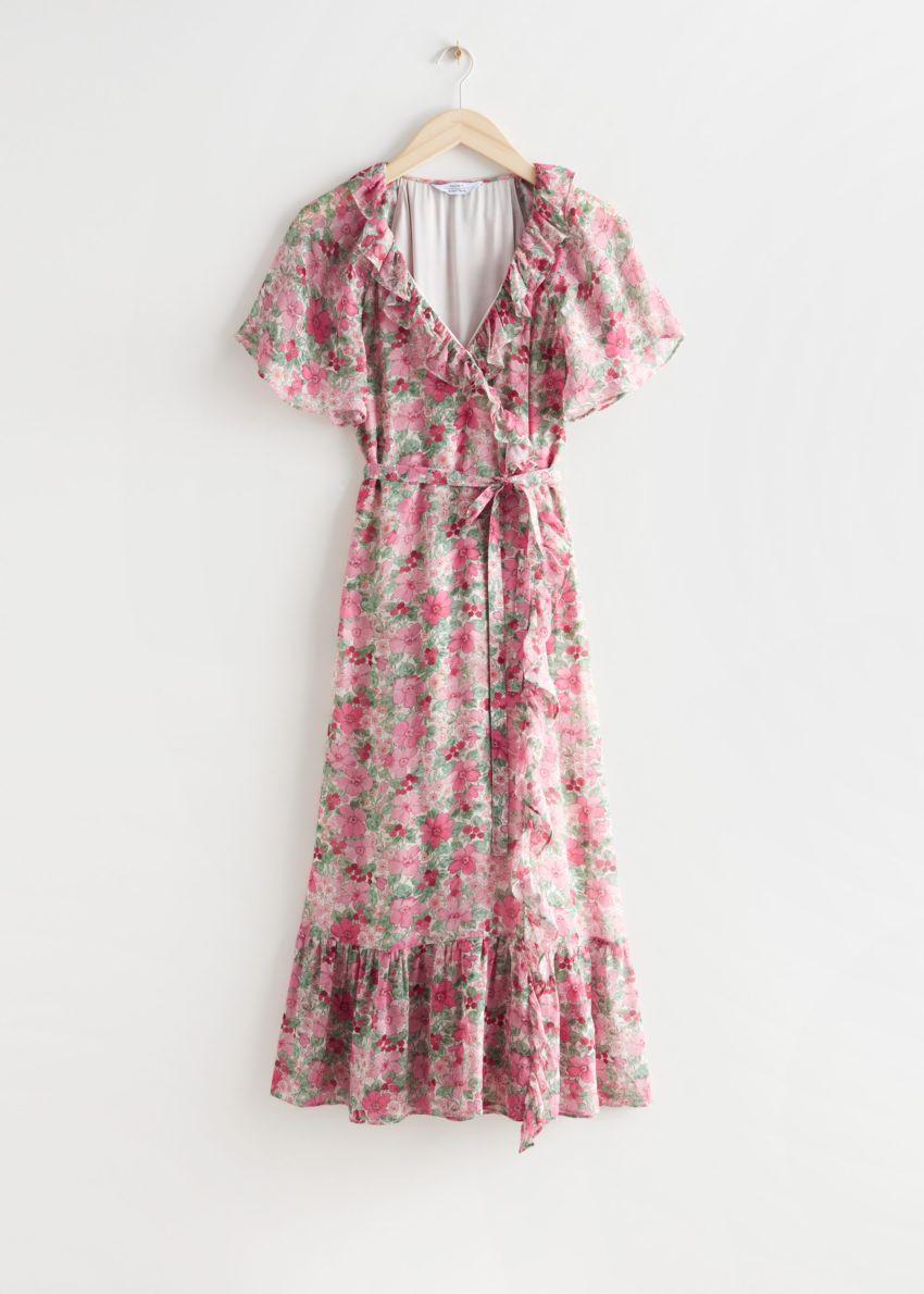 앤아더스토리즈 러플 미디 랩 드레스의 핑크 플로럴컬러 Product입니다.