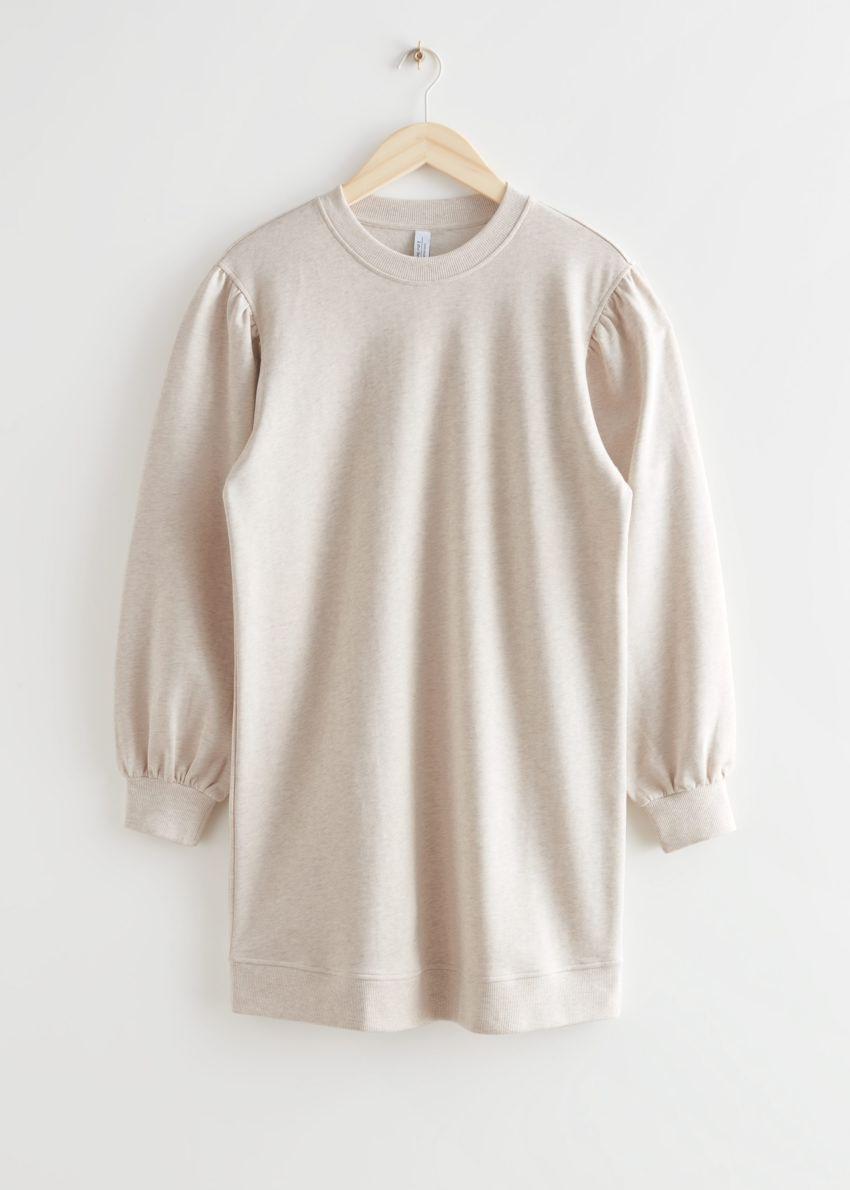 앤아더스토리즈 릴렉스드 스웨트셔츠 미니 드레스의 크림컬러 Product입니다.