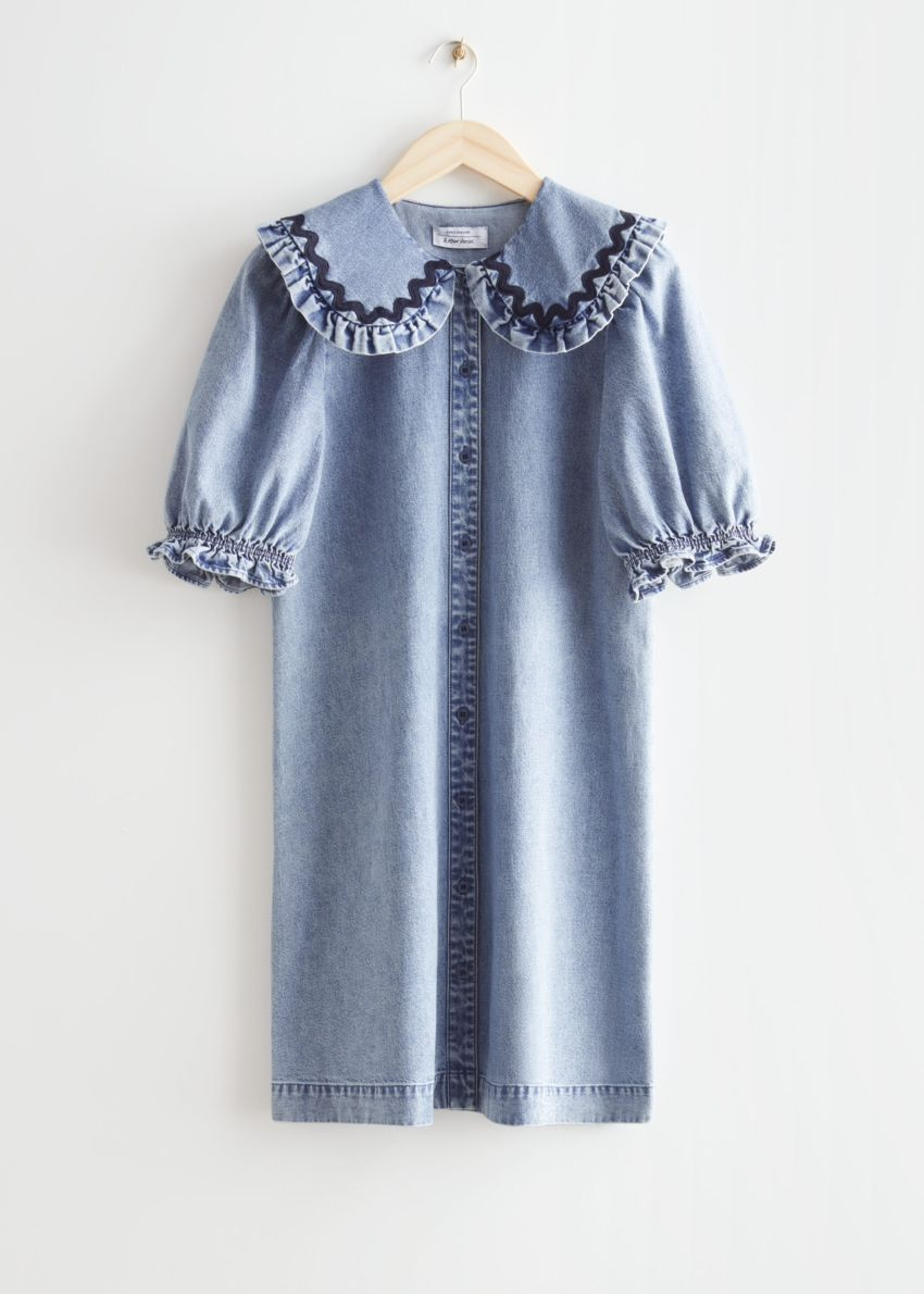 앤아더스토리즈 프릴 미니 데님 드레스의 라이트 블루컬러 Product입니다.