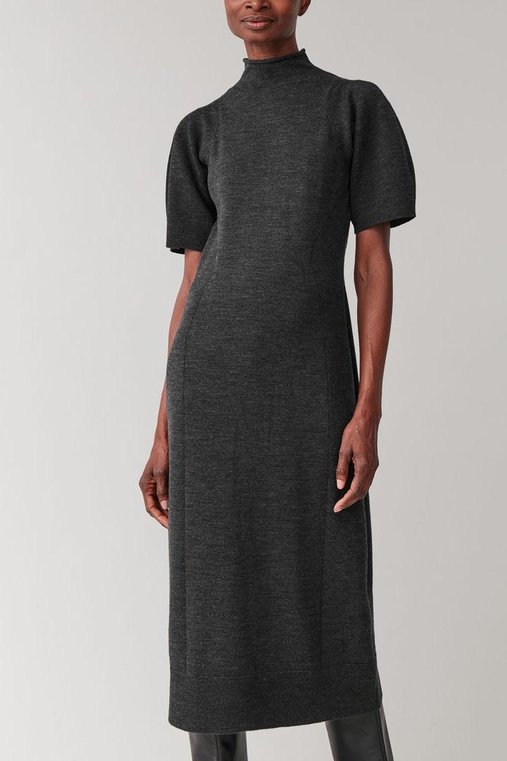 COS default image 6 of 그레이 in 퍼프 슬리브 울 믹스 드레스