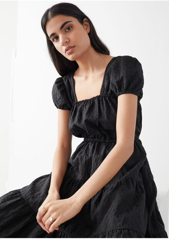 &OS image 3 of 블랙 in A라인 자카드 러플 미디 드레스