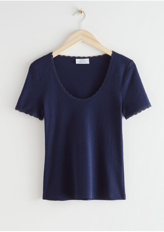 &OS image 4 of 네이비 in 립 레이스 트림 티셔츠