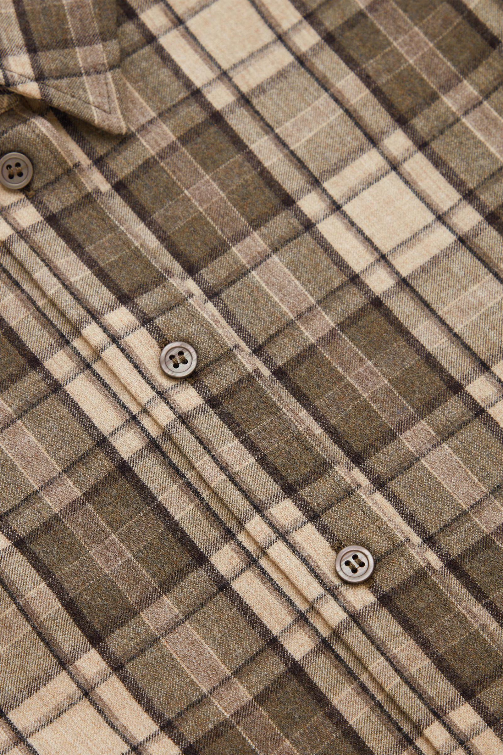 COS 체크 울 셔츠의 베이지 / 브라운컬러 Detail입니다.