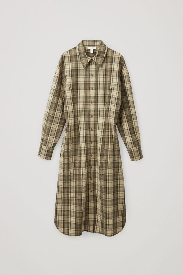 COS 울 믹스 체크 스트럭처드 셔츠 드레스의 베이지 / 브라운컬러 Product입니다.