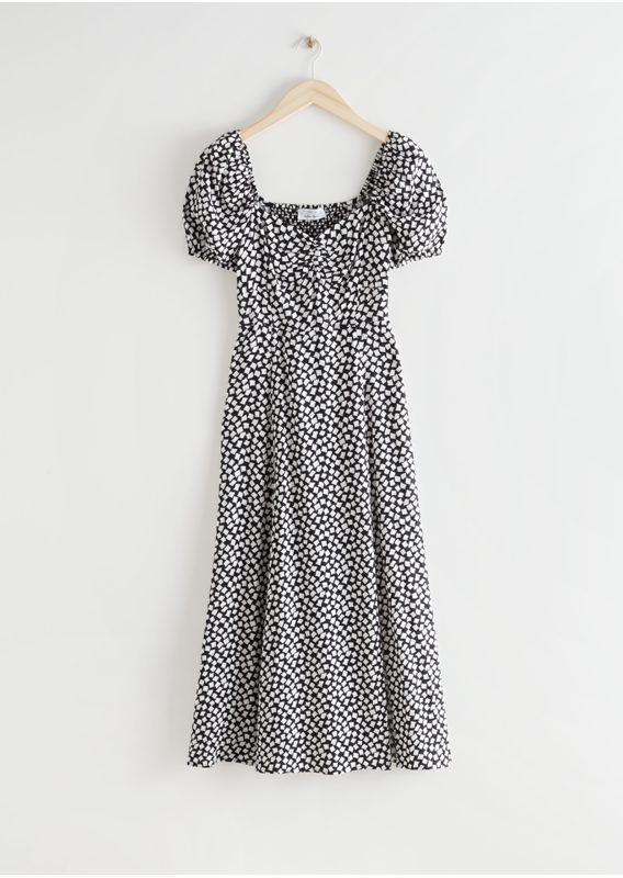 &OS image 0 of 블랙 in 플로위 퍼프 슬리브 미디 드레스