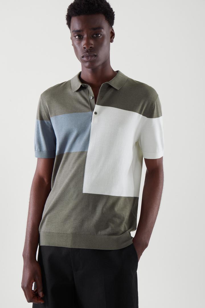 COS default image 3 of 블루 in 실크 폴로 셔츠