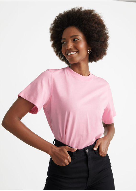 &OS image 21 of 핑크 in 박시 크루넥 티셔츠