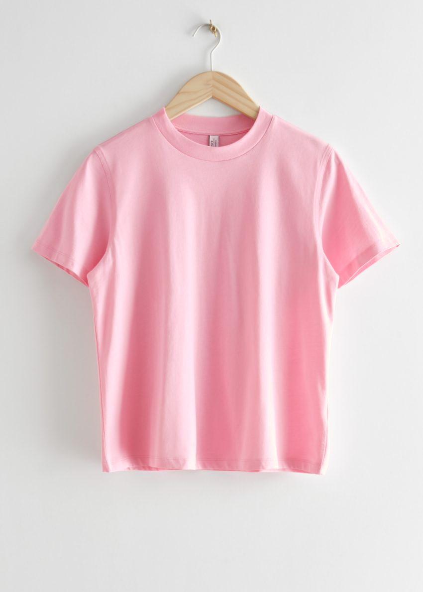 앤아더스토리즈 박시 크루넥 티셔츠의 핑크컬러 Product입니다.