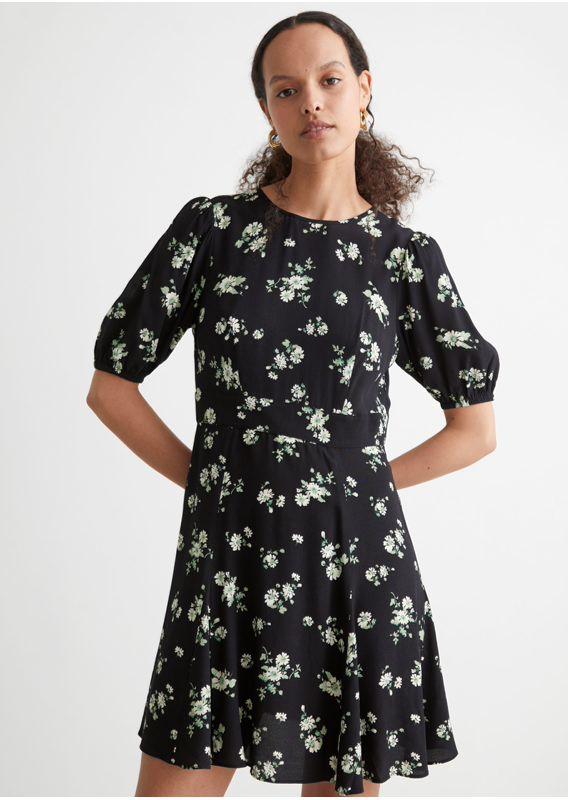 &OS image 3 of 블랙 in 퍼프 슬리브 미니 드레스