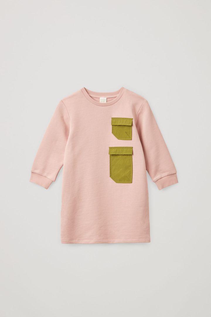 COS 오가닉 코튼 긴소매 패치 포켓 저지 드레스의 핑크컬러 Product입니다.