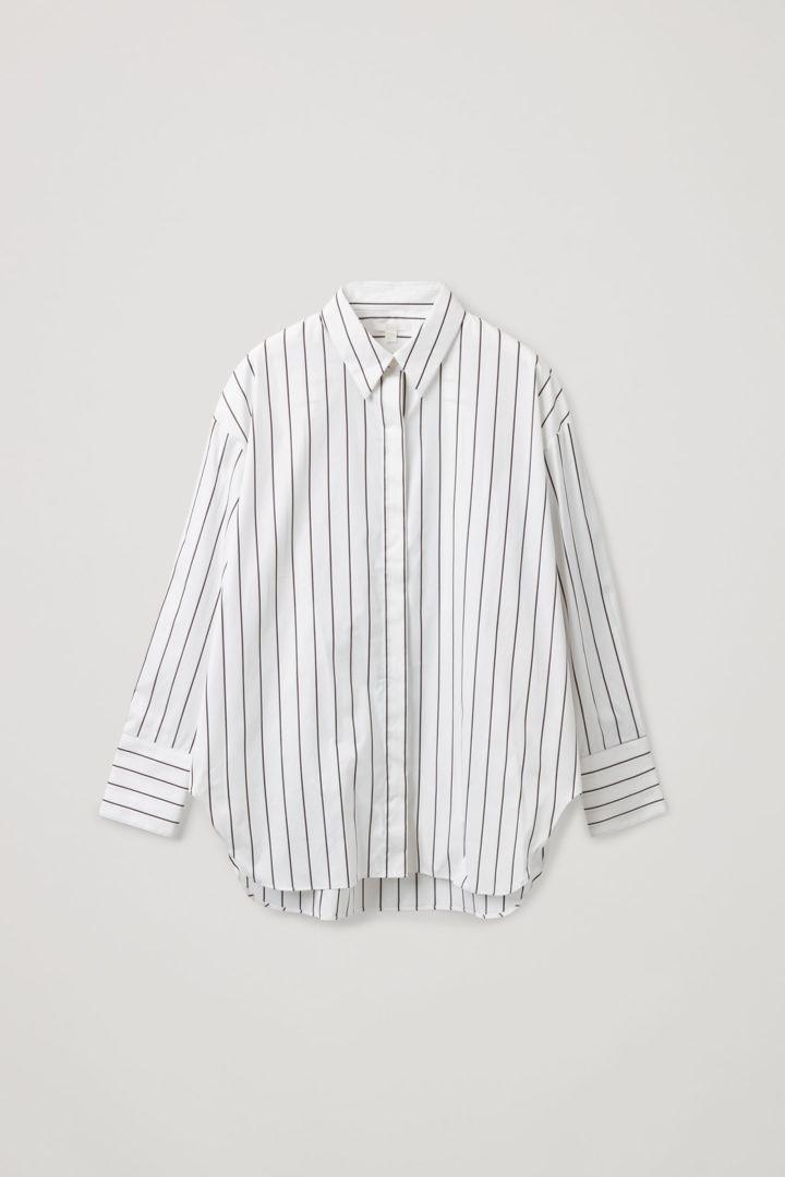 COS 오가닉 코튼 오버사이즈 스트라이프 셔츠의 화이트컬러 Product입니다.
