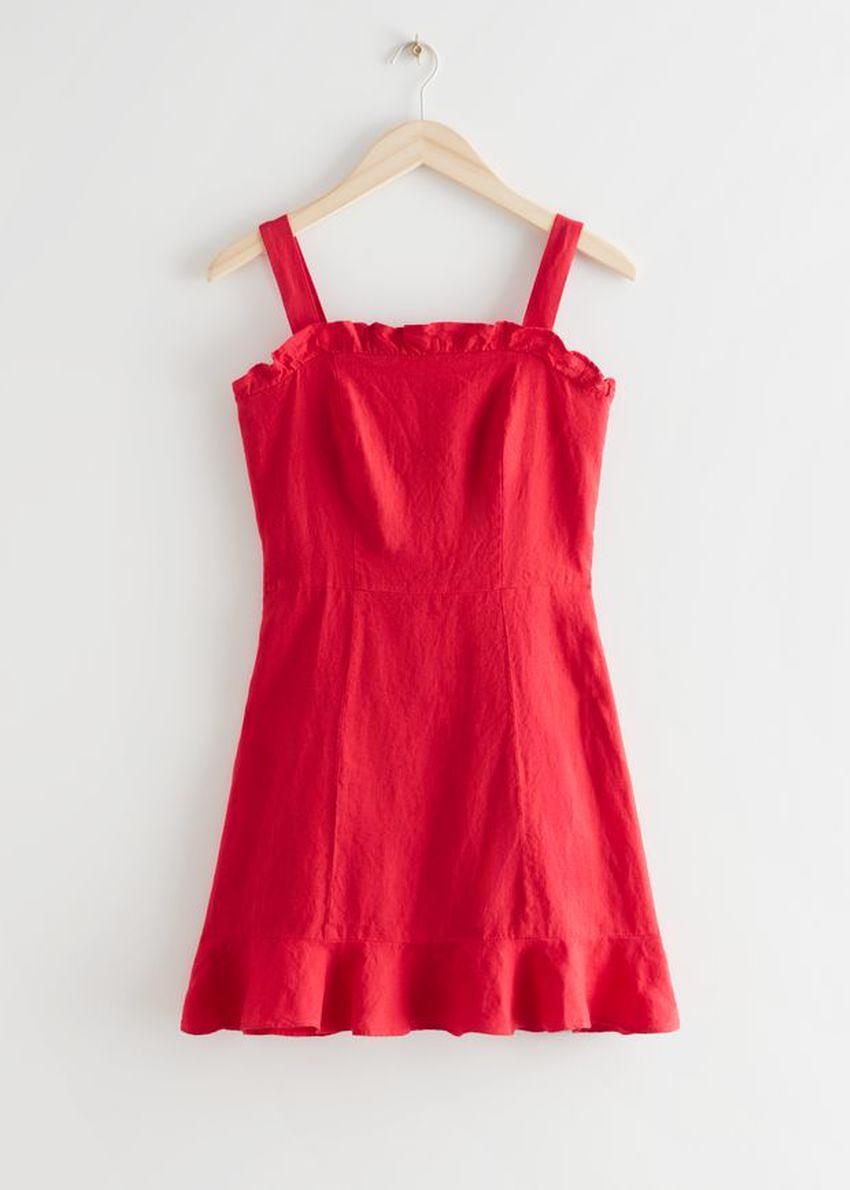 앤아더스토리즈 리넨 러플 미니 드레스의 레드컬러 Product입니다.