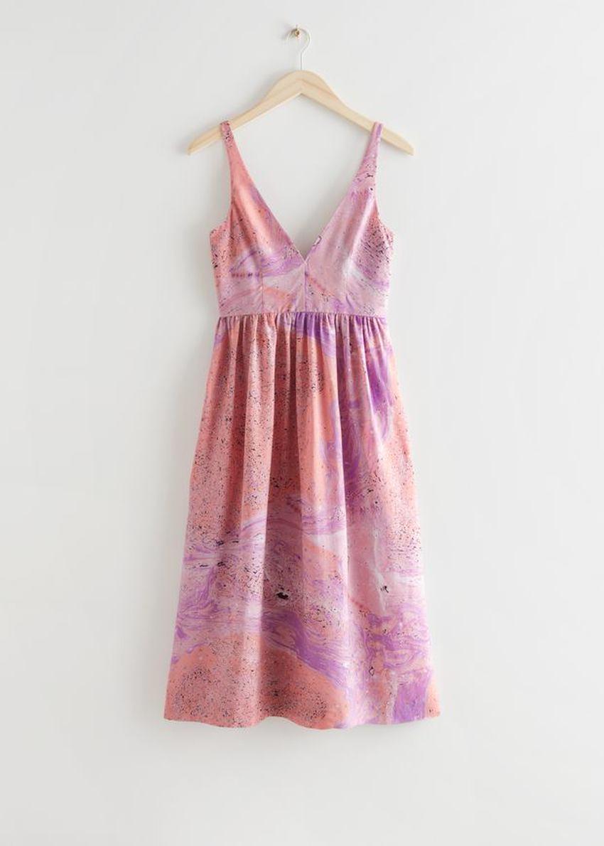 앤아더스토리즈 프린트 슬리브리스 미디 드레스의 핑크 워터컬러컬러 Product입니다.