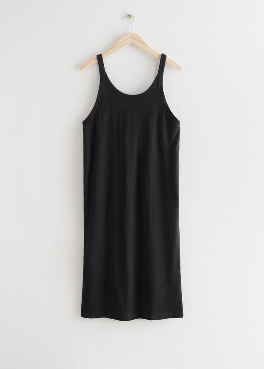 앤아더스토리즈 슬리브리스 코튼 미니 드레스의 블랙컬러 Product입니다.