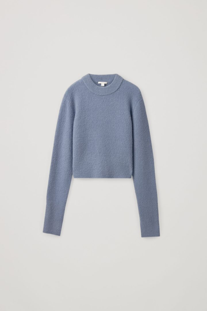 COS default image 1 of 블루 in 크롭 울 믹스 스웨터