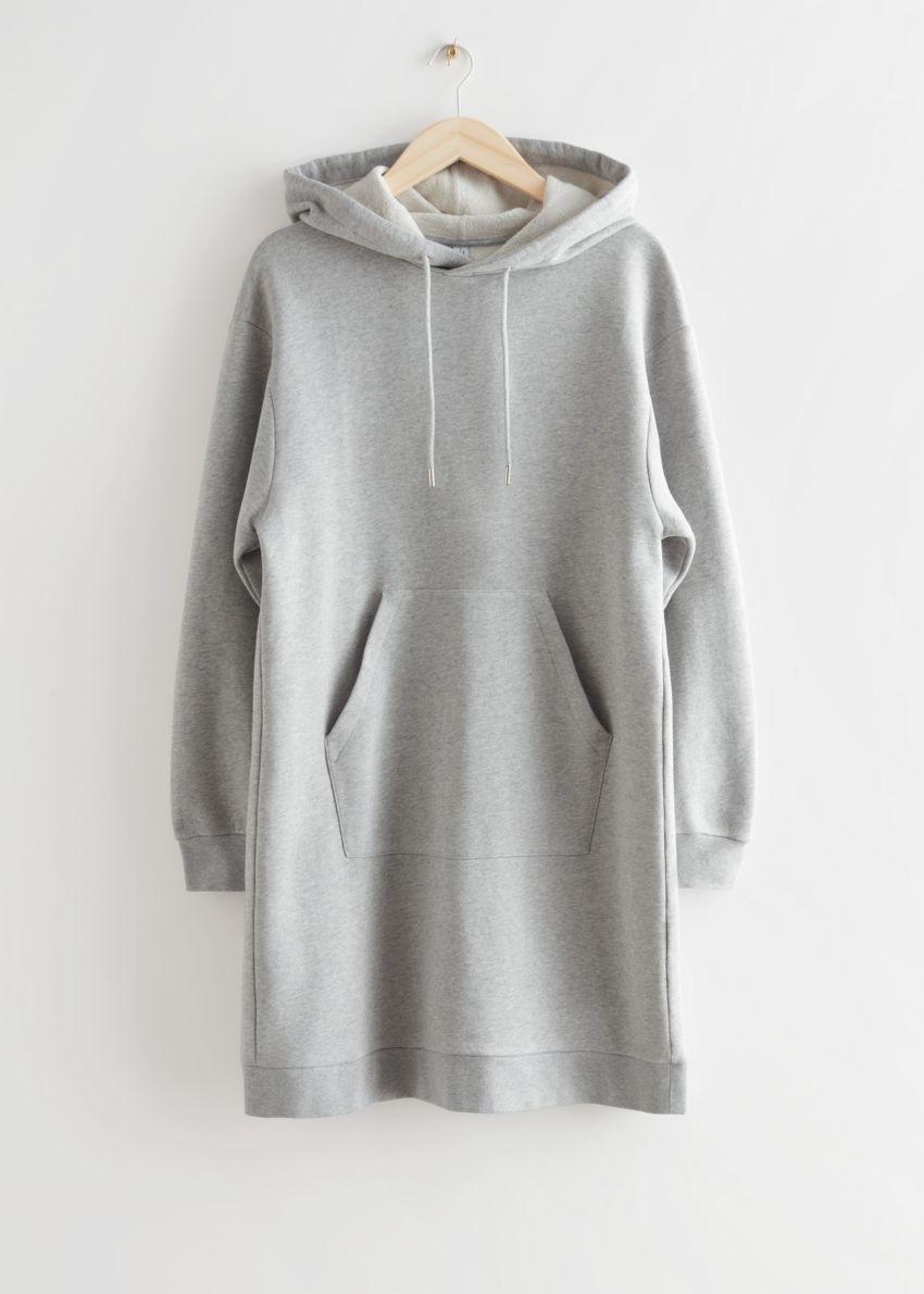 앤아더스토리즈 릴렉스드 드로스트링 후디 미니 드레스의 그레이 멜란지컬러 Product입니다.