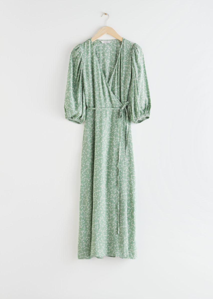 앤아더스토리즈 프린트 퍼프 슬리브 미디 랩 드레스의 그린 플로럴컬러 Product입니다.