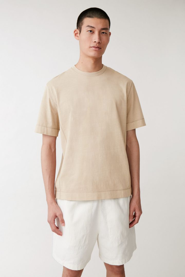 COS default image 4 of 그린 in 드롭 슬리브 코튼 티셔츠