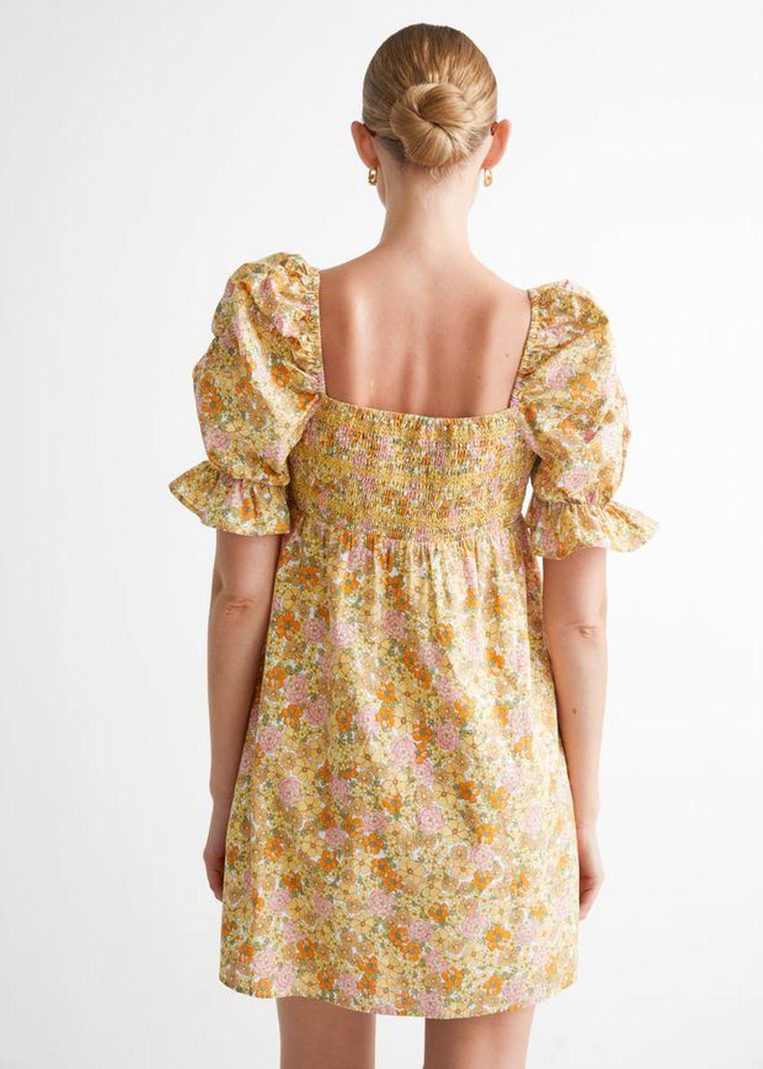 앤아더스토리즈 프린트 퍼프 슬리브 미니 드레스의 옐로우 플로럴컬러 ECOMLook입니다.